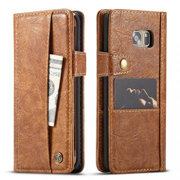 CaseMe Samsung Galaxy S7 Edge Retro Wallet Leather Case Brown