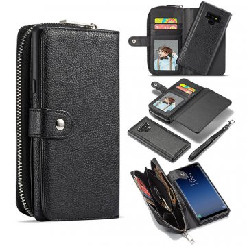 BRG Samsung Galaxy Note 9 Litchi Texture Zipper Wallet Magnetic Detachable 2 in 1 Case Black
