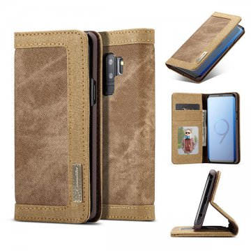 CaseMe Samsung Galaxy S9 Plus Canvas Wallet Case Brown