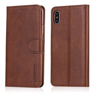 LC.IMEEKE iPhone X Wallet Stand Leather Case Brown