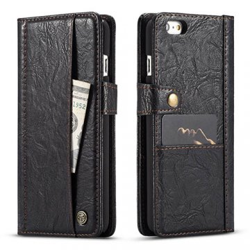 CaseMe iPhone 6/6S Retro Slot Cards Wallet Leather Case Black