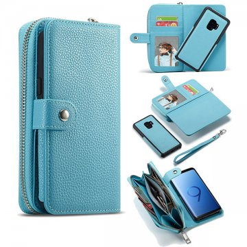BRG Samsung Galaxy S9 Plus Litchi Pattern Zipper Wallet Case Blue