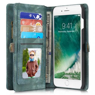 CaseMe 008 iPhone 7 Plus Zipper Wallet Detachable 2 in 1 Retro Flannelette Leather Folio Case Green