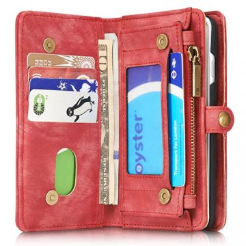 CaseMe iPhone 7 Zipper Wallet Detachable 2 in 1 Folio Case Red