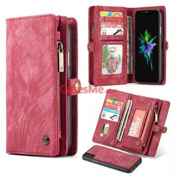 CaseMe iPhone X Zipper Wallet Detachable 2 in 1 Folio Case Red