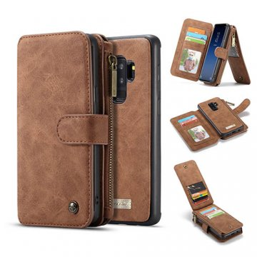 CaseMe Samsung Galaxy S9 Plus Zipper Wallet Detachable Case Brown