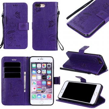 iPhone 7 Plus Wallet Embossed Ant Flower Design Stand Case Purple