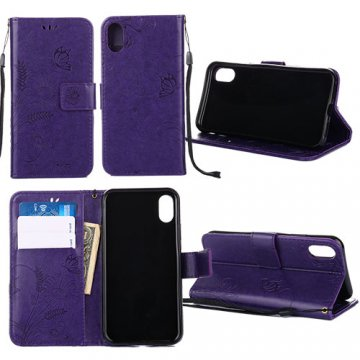 iPhone X Wallet Embossed Ant Flower Design Stand Case Purple