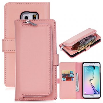 Samsung Galaxy S6 Edge Detachable Magnetic Zipper Pocket Case Pink