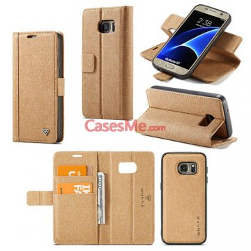 WHATIF Samsung Galaxy S7 Wallet Detachable DIY Case Brown