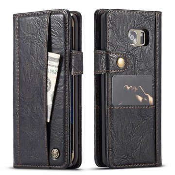 CaseMe Samsung Galaxy S7 Edge Retro Wallet Leather Case Black