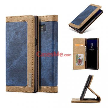 CaseMe Samsung Galaxy Note 8 Canvas Wallet Magnetic Case Blue