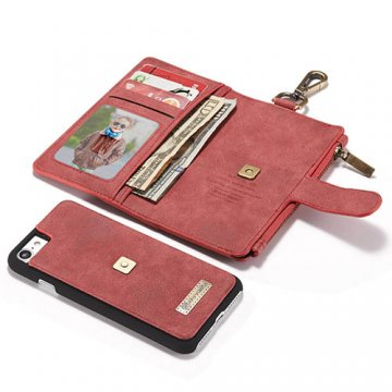 CaseMe iPhone 7 Zipper Wallet Metal Buckle Detachable Folio Case Red