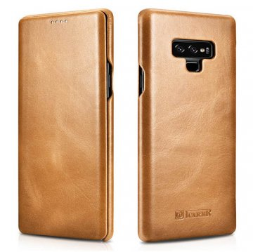 ICARER Samsung Galaxy Note 9 Curved Edge Vintage Folio Case Khaki