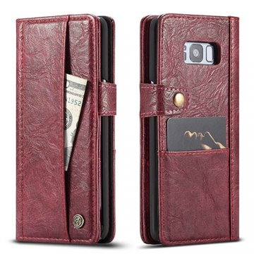 CaseMe Samsung Galaxy S8 Plus Retro Wallet Leather Case Red