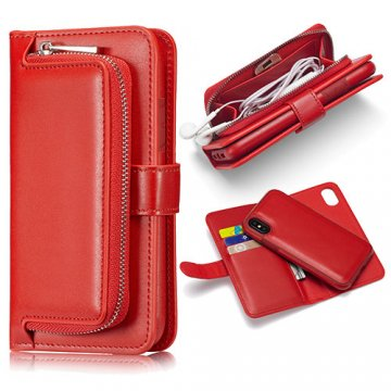iPhone X Zipper Pocket Detachable Magnetic Case Red