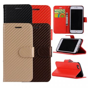 Carbon Fiber iPhone 6/ 6S Wallet Stand Leather Case