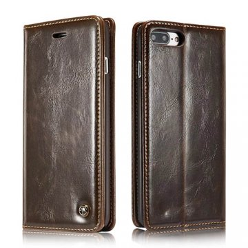 CaseMe 003 iPhone 7 Plus Business Style Magnetic Flip Wallet Case Brown