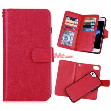 BRG iPhone 8 Wallet 9 Card Slots Detachable Magnetic Case Red