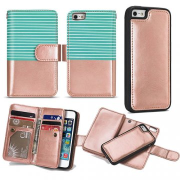 BRG iPhone SE/5S/5 Wallet 2 in 1 Stripe Leather Case Green + Gold