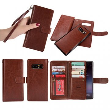 BRG Samsung Galaxy Note 8 Detachable Wallet Magnetic Case Brown