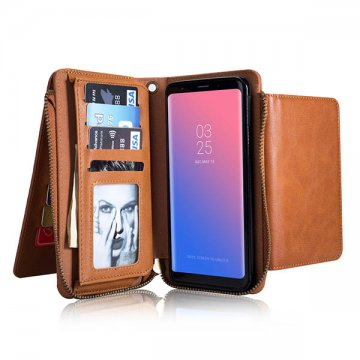 Samsung Galaxy S9 Plus Zipper Wallet Case With Wrist Strap Brown