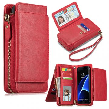 Samsung Galaxy S7 Edge Wallet Detachable Magnetic Case With Wrist Strap Red