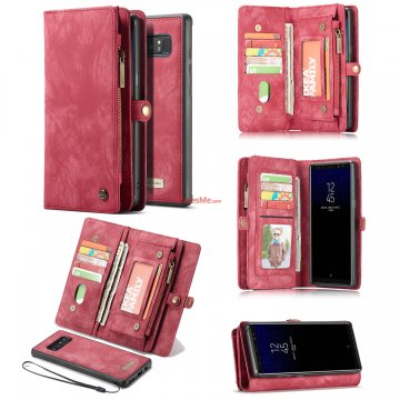 CaseMe Samsung Galaxy Note 8 Detachable Zipper Wallet Folio Case Red