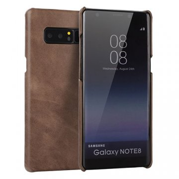 Samsung Galaxy Note 8 Genuine Leather Matte Back Cover Case Coffee