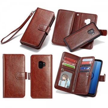 BRG Samsung Galaxy S9 Wallet Detachable Magnetic Case Brown