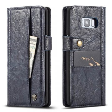 CaseMe Samsung Galaxy S8 Plus Retro Wallet Leather Case Blue