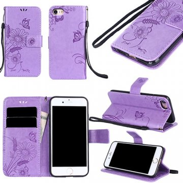 iPhone 7 Wallet Embossed Ant Flower Design Stand Case Lavender