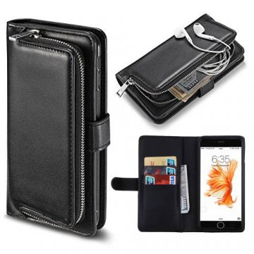 iPhone 7 Detachable Magnetic Zipper Pocket Case Black