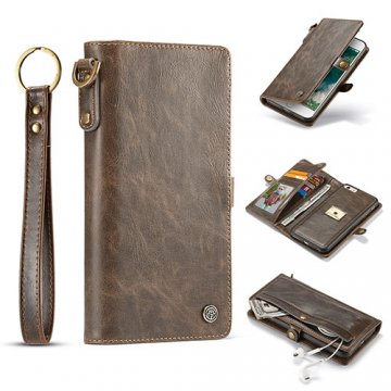 CaseMe iPhone 7 Plus Wallet Retro Case With Wrist Strap Coffee