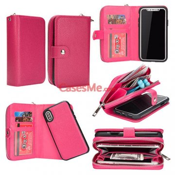BRG iPhone X Litchi Pattern Zipper Wallet Detachable Case Rose
