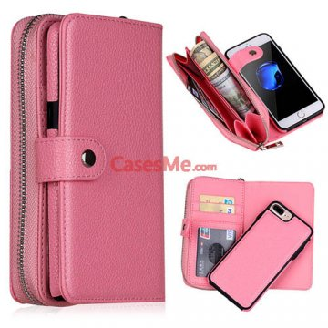 BRG iPhone 8 Plus Zipper Wallet Detachable Litchi Pattern Case Pink
