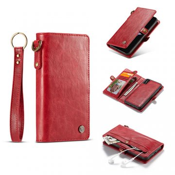 CaseMe iPhone XS Wallet Retro Style Case With Wrist Strap Red