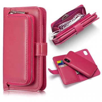 iPhone X Zipper Pocket Detachable Magnetic Case Rose