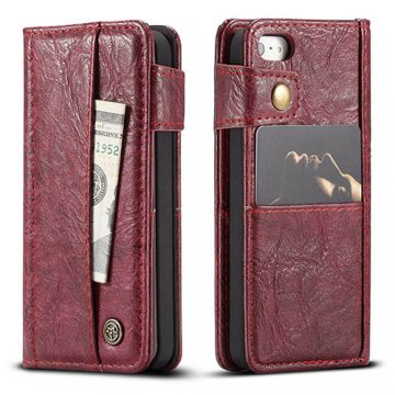 CaseMe iPhone SE/5S/5 Retro Slot Cards Wallet Leather Case Red