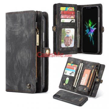 CaseMe iPhone X Zipper Wallet Detachable 2 in 1 Folio Case Black
