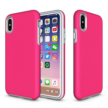 iPhone X Rugged Anti-skid Hybrid PC + TPU Armor Protective Case Rose