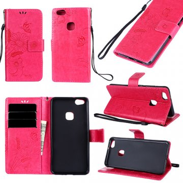 Huawei P10 Lite Wallet Embossed Ant Flower Design Stand Case Red