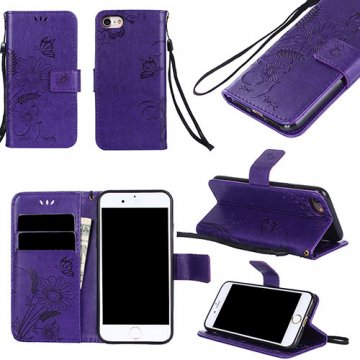 iPhone 7 Wallet Embossed Ant Flower Design Stand Case Purple