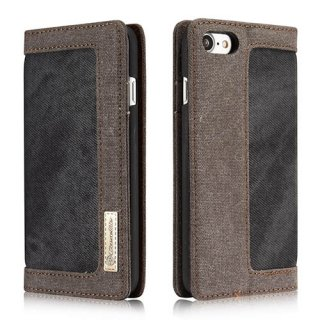 CaseMe iPhone 7 Canvas Wallet PU Leather Stand Case Black