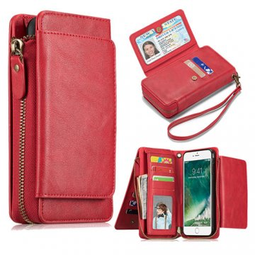 iPhone 7 Plus Wallet Detachable Magnetic Case With Wrist Strap Red