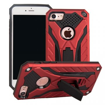 Apple iPhone 7 Knight Armor Hybrid Shockproof Stand Case Red