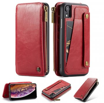 CaseMe iPhone XR Business Zipper Wallet Detachable Case Red