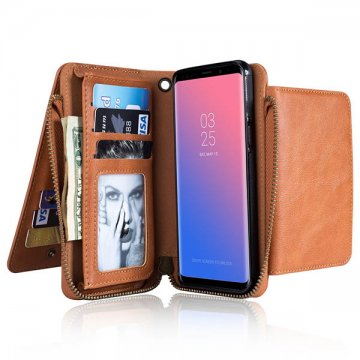 Samsung Galaxy S9 Wallet Detachable Case With Wrist Strap Brown