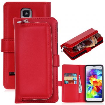 Samsung Galaxy S5 Detachable Magnetic Zipper Pocket Case Red