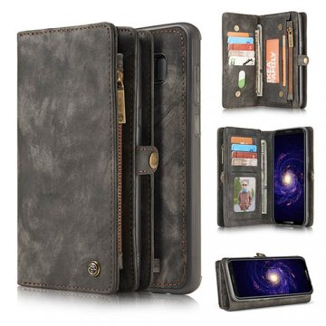 CaseMe Samsung Galaxy S8 Zipper Wallet Detachable 2 in 1 Retro Flannelette Leather Folio Case Black